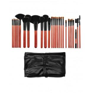 Tools For Beauty Conjunto 28 Pinceis Profissionais Kabuki Preto e cereja