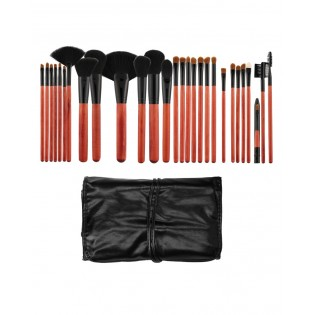Tools For Beauty Set 28 Kabuki Professional Pinceis Black and Cherry