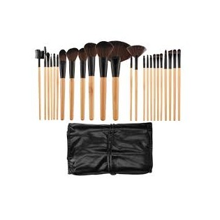 Tools For Beauty Set 24 Professional Brushes Wood Brown