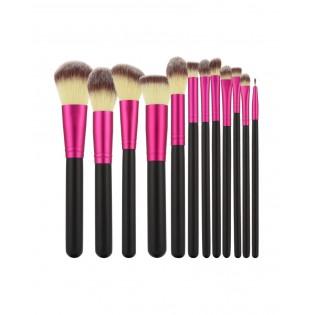 Tools For Beauty Conjunto 12 Pincéis Profissionais Preto com rosa
