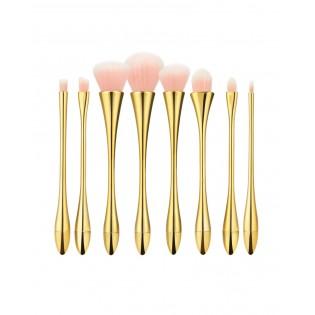 Tools For Beauty Conjunto 8 Pincéis Profissionais Dourado com Rosa