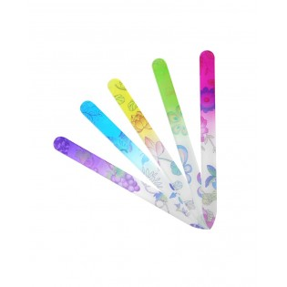 Glass nail file with floral pattern plastic pouch