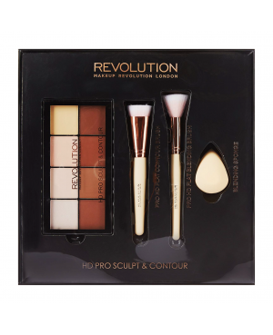 Revolution HD Pro Sculpt & Contour Set Palette & Contour Brush Beauty Blender