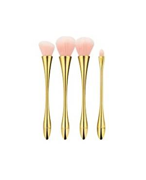 Tools For Beauty Conjunto 4 Pincéis Profissionais Dourado e Rosa